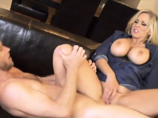 blonde milf with huge tits rides a cock like a slut