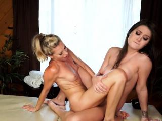 gorgeous lesbian masseuse pussylicking dyke
