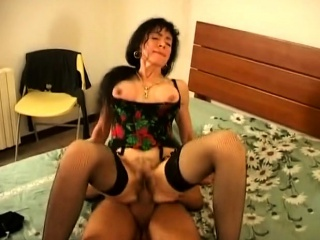 amazing milf in stockings hairy pussy