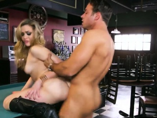 blonde bartender chick handling business with her pussy