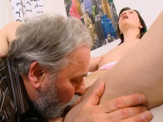 adorable young gal enjoys old hard rod entering her pussy