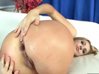 horny blonde gets cum on her face