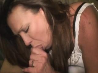 mature brunette street hooker slurping on dick point of view