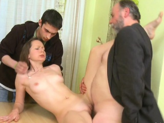 curious young babe gives a oral service to an old crazy guy