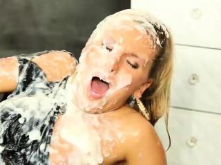 beautiful blonde gets covered in cum