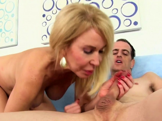 horny granny sucks cock and takes it up her twat