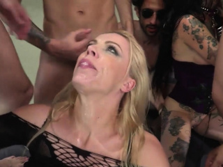 three fiery women rough anal gangbang with pervert dudes