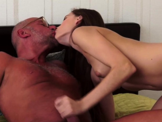 brunette beauty loves old mans dick