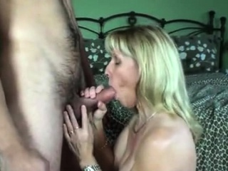 hot busty blonde with big ass doing blowjob and riding cock
