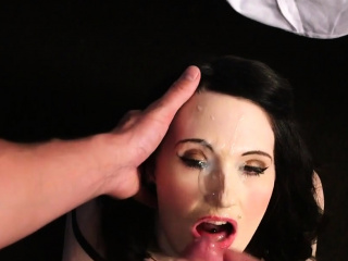 wacky babe gets cumshot on her face swallowing all the jizz6