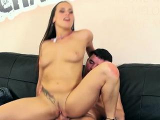 brunette pornstar sex with double creampie