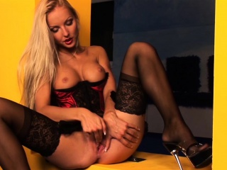 amazing blonde in lingerie plays with herself