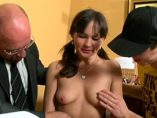 charming elderly teacher is drilling playgirl from behind