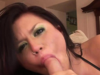 busty girl makes a fat cock disappear