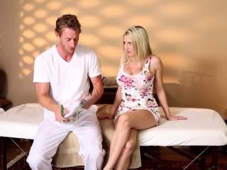 busty babe tastes masseurs jizz after blowjob