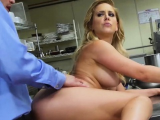 busty milf bimbo gives head and pounded in the kitchen