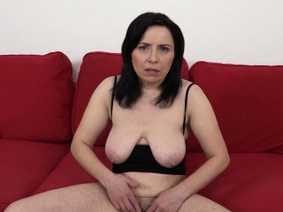 mature with natural tits gets a creampie in her hairy pussy