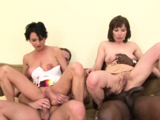 two older ladies get double teamed by two hard cocks