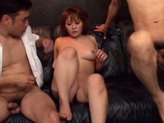 sexy japanese slut takes care of three cocks
