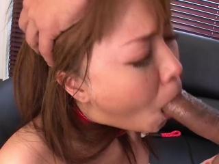 busty japanese secretary gives a sloppy blowjob