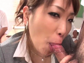 japanese teacher masturbates and gives a blowjob in class