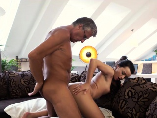 daddy4k old and young lovers have spontaneous sex behind