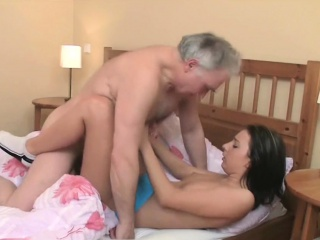 young hottie licked and gives a blowjob to an old dude
