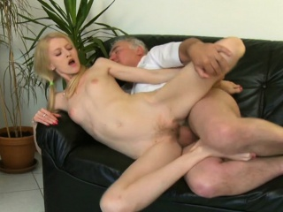 enchanting young babe gives passionate ride to an old man