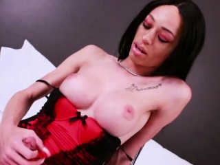 busty ts ebony ashley stacks masturbates until cums