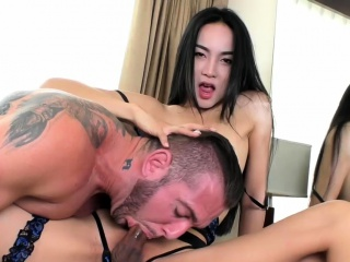 nasty ladyboy and horny dude anal fucking on the bed