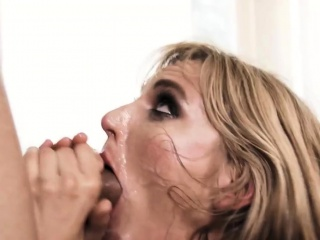 blonde slut giving deepthroat blowjob