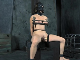 gagged and fastened up slave is being pleasured with sextoy