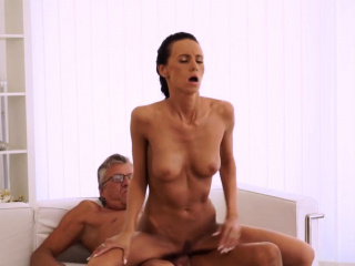 young brunette licks old man and fucks him fingering pussy x