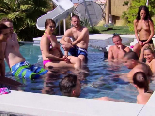 latina girl at reality swinger pool party