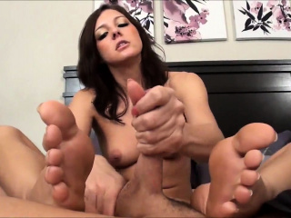 kinky brunette in sexy undies with foot fetish does footjob