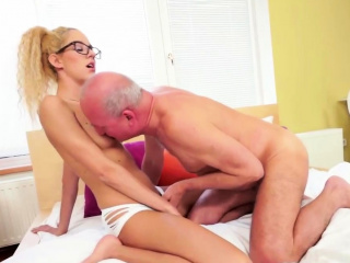 sexy grandpa enjoys dirty sex with blondie