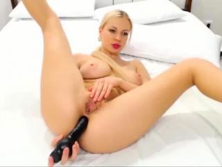 skinny blonde got wet on big black dildo anal toying