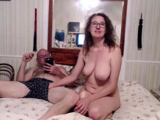 busty brunette girlfriend gives blowjob on webcam