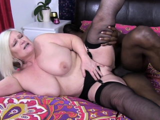 granny fucks with big hard black cock
