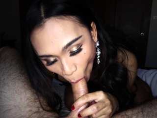 cute ladyboy shemale played with a strangers big cock