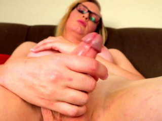blonde transbabe wanking her big cock