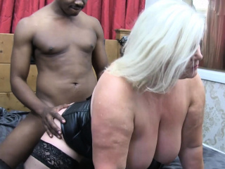 laceystarr leather clad granny gets interracial spitroast