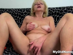 Meaty blonde grandma fucked by a horny bald guy