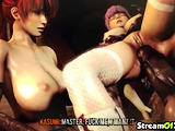 Cute 3D babes fucked deeply by huge dick devil