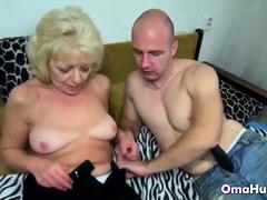 Guy with false huge cock fucks granny hard
