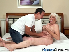 Granny with big tits gets pussy slammed