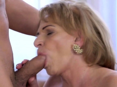 Lusty grandma admiring hard dick