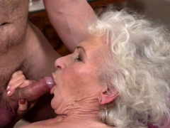 Gray haired grandma enjoying a hard cock