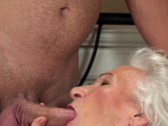 Wrinkly materfamilias gets plowed and spermed