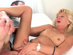 Flat chested granny rides hard dick